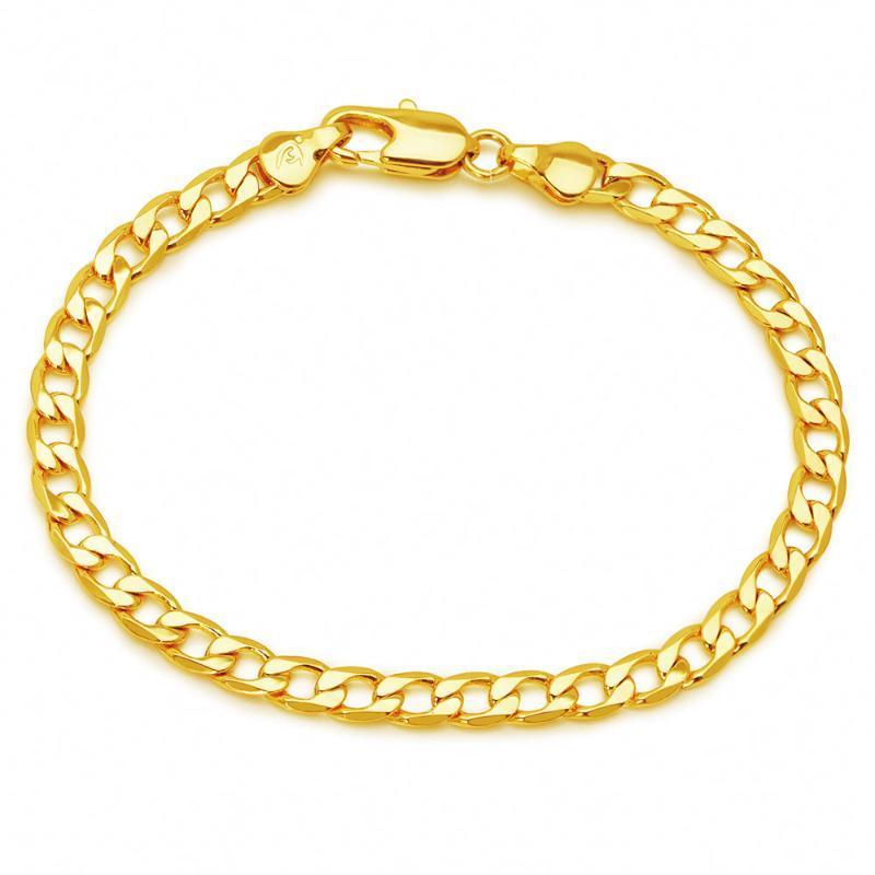 XP Bijoux - (19 cm x 5 mm) 24 k Figaro couleur or jaune Bracelets pour hommes, femmes Bijoux mode