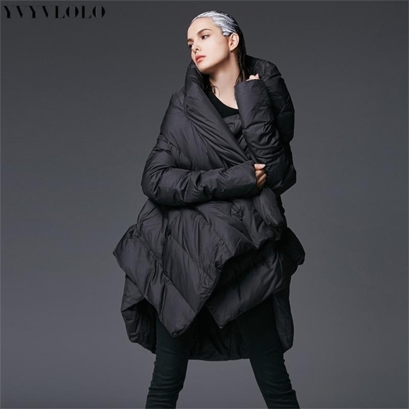 Yvyvlolo nueva capa de mujer con capucha con capucha suelta larga parka mujeres abajo abrigo de invierno chaqueta caliente hembra abrigo y201012