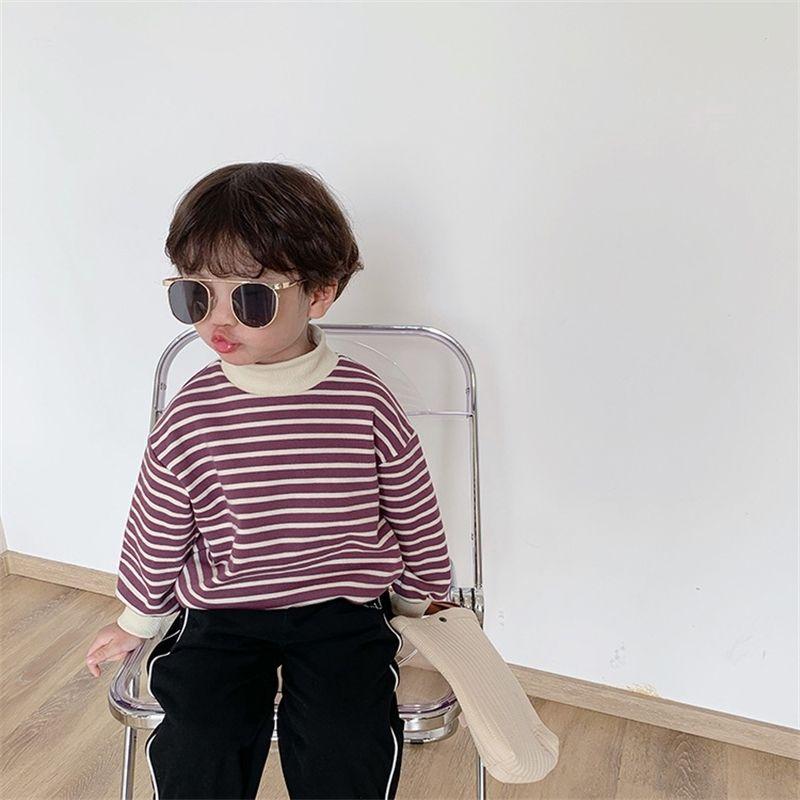 Осенние мальчики мода полосатые с длинными рукавами толстовки детские изделка шеи свободные 3 цвета толстовки 201126