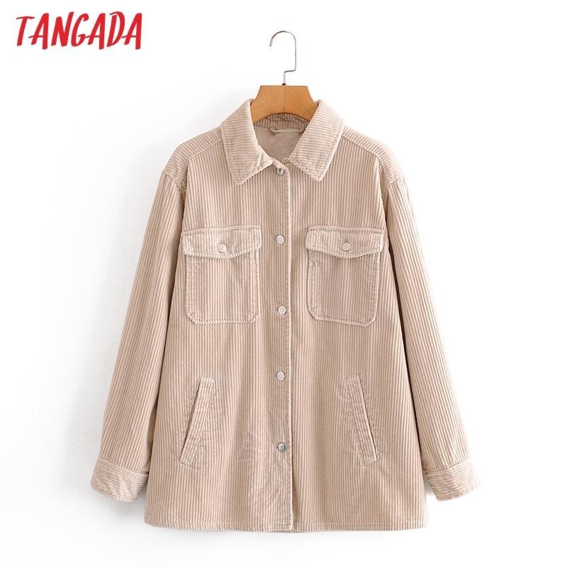 Tangada Femmes Épaisses Solide Veste Manteau Boyfriend Style Automne Automne NOUVELLE FEMME Manteau surdimensionnée Femme 3A59 201013