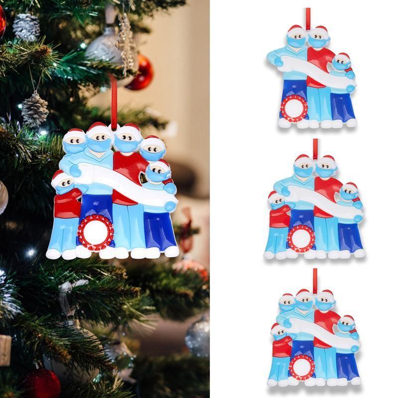 Симпатичные Силиконовые рождественские украшения персонализированных DIY почерка Подвески маска снеговика Family 2 3 4 5 Рождественская елка Висячие Подвески DWA1743