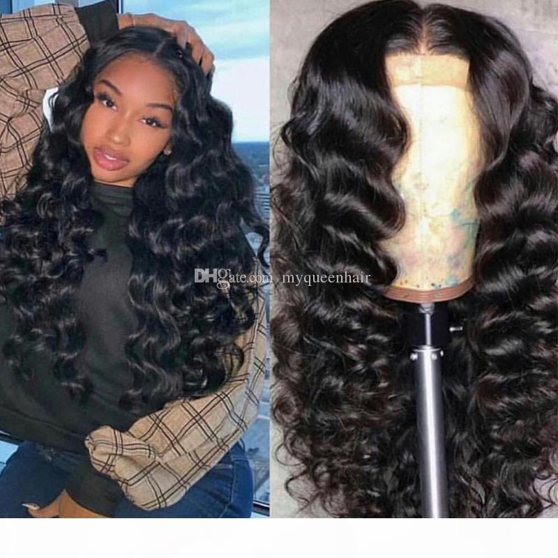 2019 Vente chaude HD Swiss Dentelle Human Bounce Wave Wigs Cheveux Brésilien 150% Densité avec bébé cheveux pour femmes noires