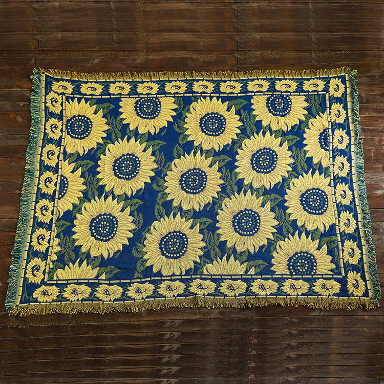 Knitted Sunflower Cotton Throw American Cushion Country Cloth Art Sofa Cover Blanket Home Textil ZA65
