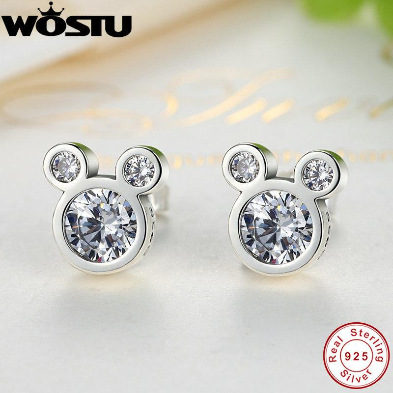 Hot Selling 100% 925 Sterling Silver Cute Dazzling Mouse Stud Earrings For Women Girl Authentic Original Jewelry Gift