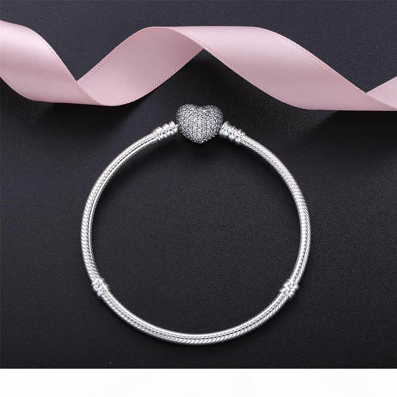 Authentische 925 Sterling Silber Herz Charms Armband mit Box Fit Pandora European Perlen Schmuck Armreif Echtes Silber Armband Für Frauen