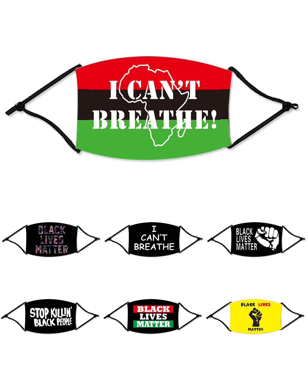 Waschbare Gesicht In Breathe Auf I Cant Cotton Schwarz Lives Matter Masken Modedesigner Maske für Ad