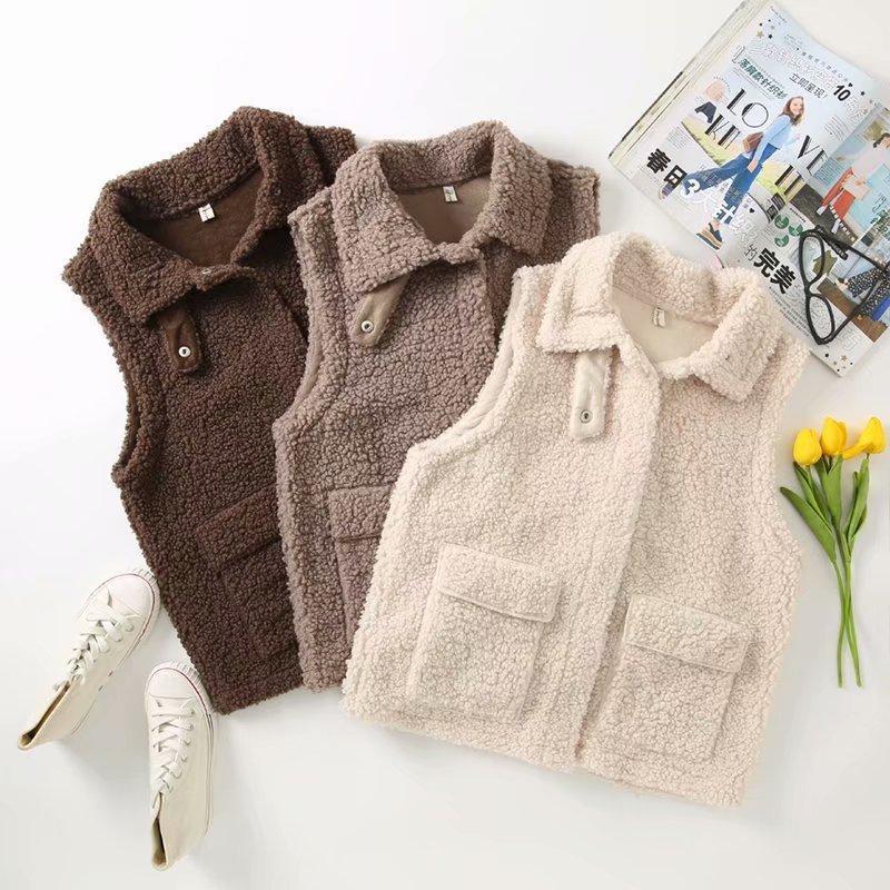 2020 Nuova maglia delle donne di inverno di autunno caldo taglie forti 4XL agnello Giacca in lana femminile Veats risvolto colletto senza maniche Gilet