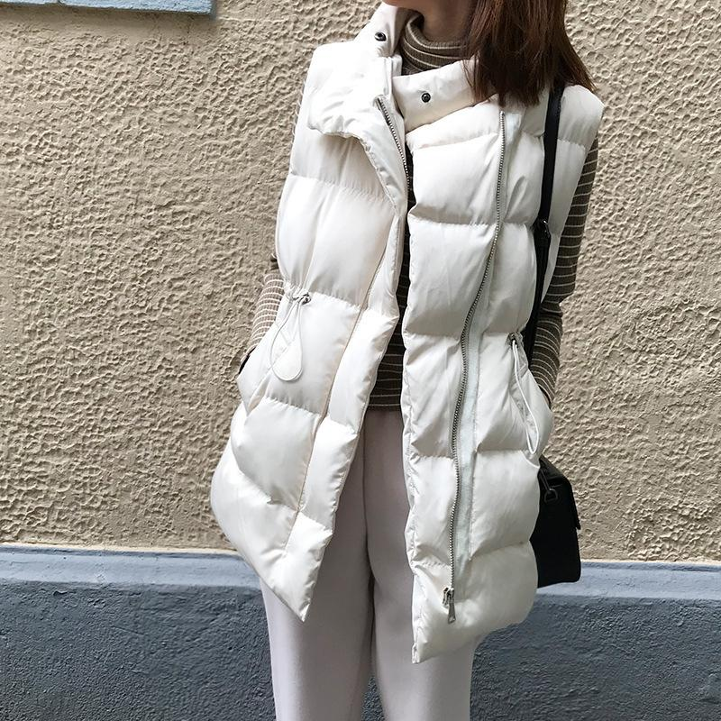 Stand Collar Thick Winter Vest Woman Clothes 2020 Warm Sleeveless Jacket Drawstring Quilted Waistcoat Female Down Vest Outerwear 1023