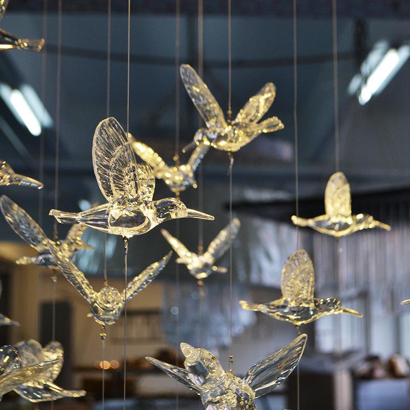 5шт Crystal Clear Acrylic птица украшения рождественской елки Главная партия Свадьба Этап Подвеска Xmas украшения елка Новый