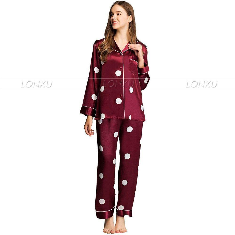 Womens Silk Satin Pajamas Set Pyjamas PJS Set Sleepwear Nightwear Loungewear XS~ 3XL Plus Size__For XMAS Gifts 201113