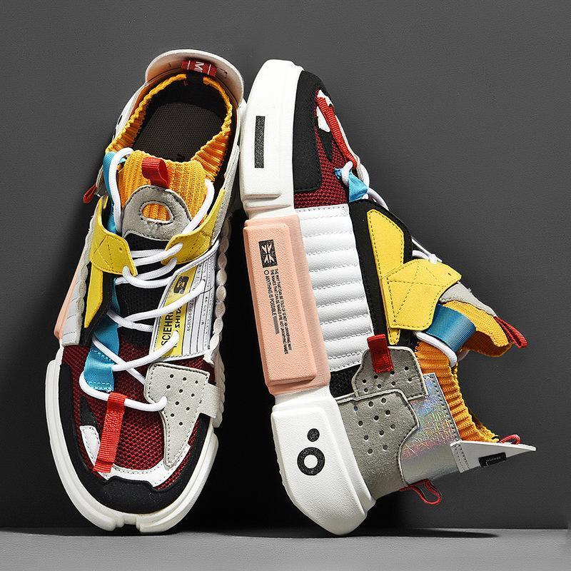 Hip Hop Trendy Men Casual Спорт папа кроссовки Мужской сетка свет кроссовки осень Толстая Подошва Студенты Полуботинки Zapatos HOMBRE