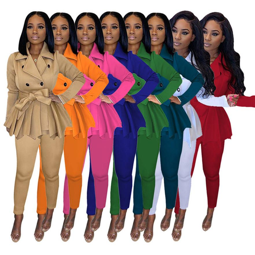 Designer Damen Jogger Anzug Langarm Niveau Trainingsanzug Fall Winter Outfits Solide Farbe Sweatsuit Jacke Mantel + Hosen 2 Stück Set 4114