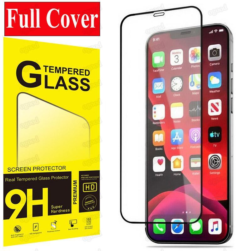 Plein couverture Verre trempé pour iPhone 12 Pro Max Protecteur d'écran de protection pour iPhone 12 Mini SE XR Samsung A51 Pixel LG avec paquet de détail