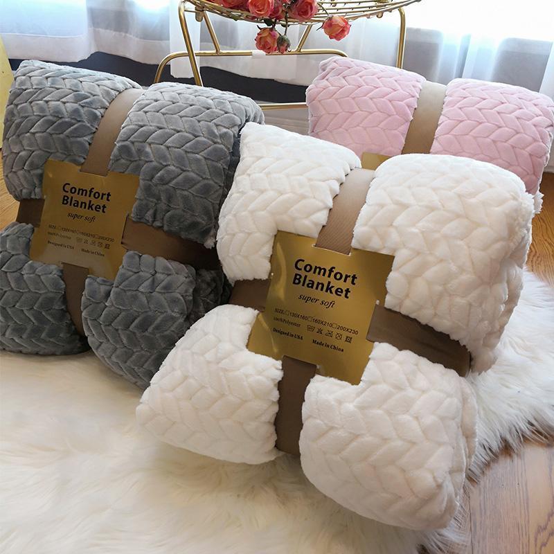 Зимний двухслойный слой толстого одеяла хорька кашемировая супер мягкая белая шерсть плед флис BA диван бросить на одеял фланель теплый кровать