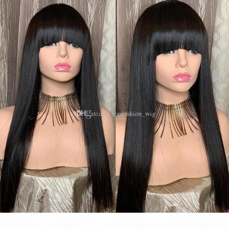 Парик фронта Jet Black Silk Top Lace с челкой полный парик шнурка человеческих волос Необработанные бразильский Silk Base парики с волосами младенца