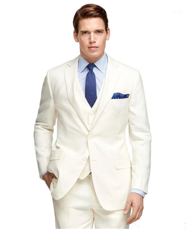 Vente en gros Robe de mariée ivoire personnalisée Notched revers Deux boutons Best Homme costume (veste + pantalon + gilet + cravate) 1