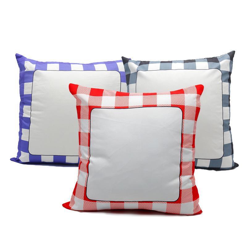 La sublimación de cuadrícula funda de almohada en blanco blanco fundas de almohadas amortiguador del poliester de Transferencia de Calor Square Throw almohada para el banco de Sofá Sofá