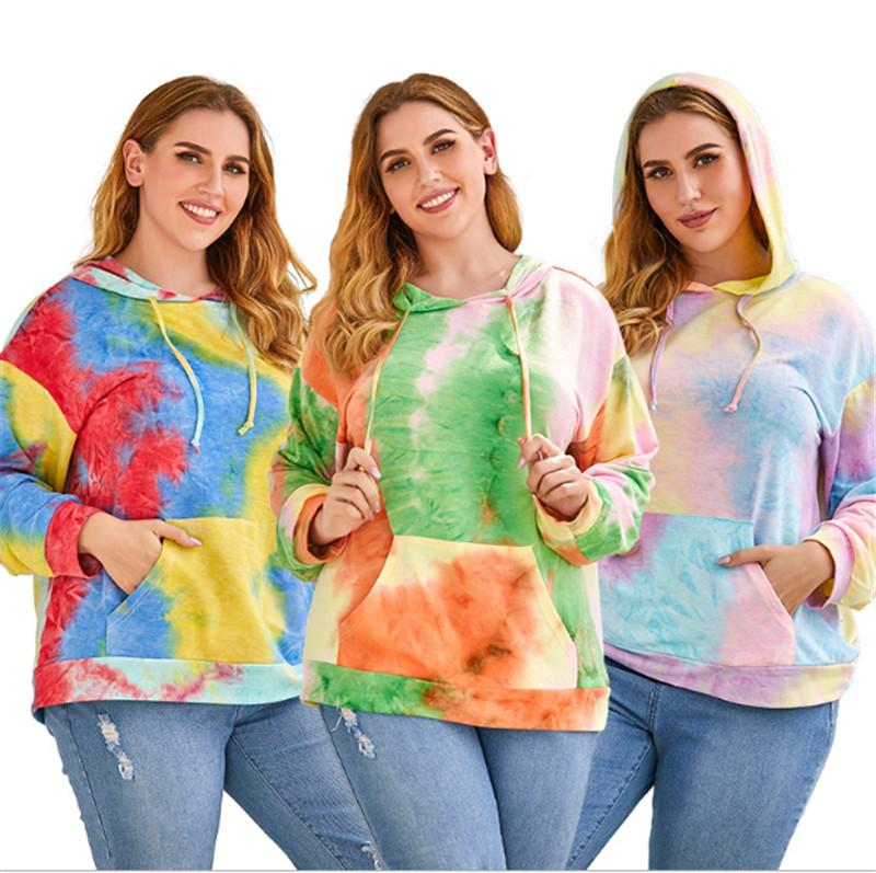 Женские плюс размеры толстовки толстовки с длинными рукавами Tees Tees Pullover Tears Girls Hoodie мода сексуальная повседневная рубашка удобная горячая клW5944