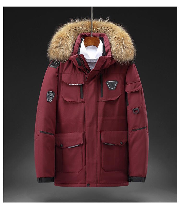 Nueva chaqueta de ganso canadiense de invierno Medio y largo grueso pato blanco abajo corriendo abrigo de hombre joven de moda
