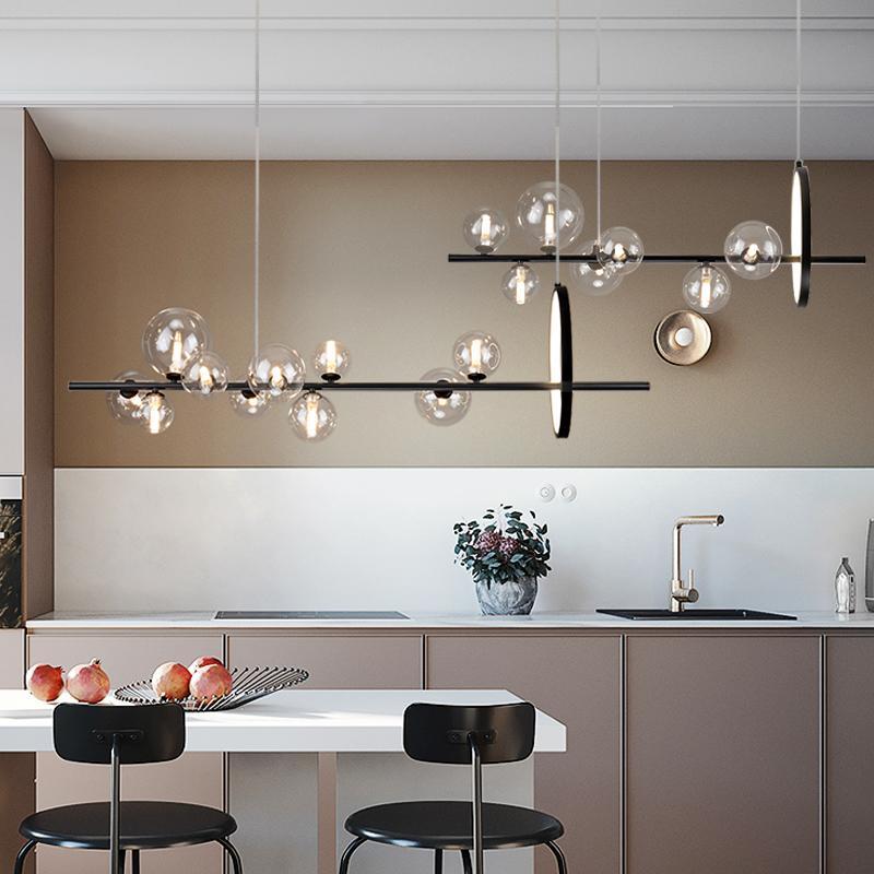 Postmoderno Larga Tira Restaurante Lámpara Moderna Minimalista Creativo Tienda Bar Lámpara de mesa Lámpara Comedor Redonda Colgante Luces Glass G9