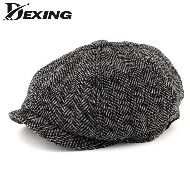 Erkekler Sekizgen Büyük boy Bereliler Balıksırtı Gatsby Tweed Cap Newsboy Erkek Bere bitkin blinders şapka bahar Kadınlar Düz Bereliler Şapkalar