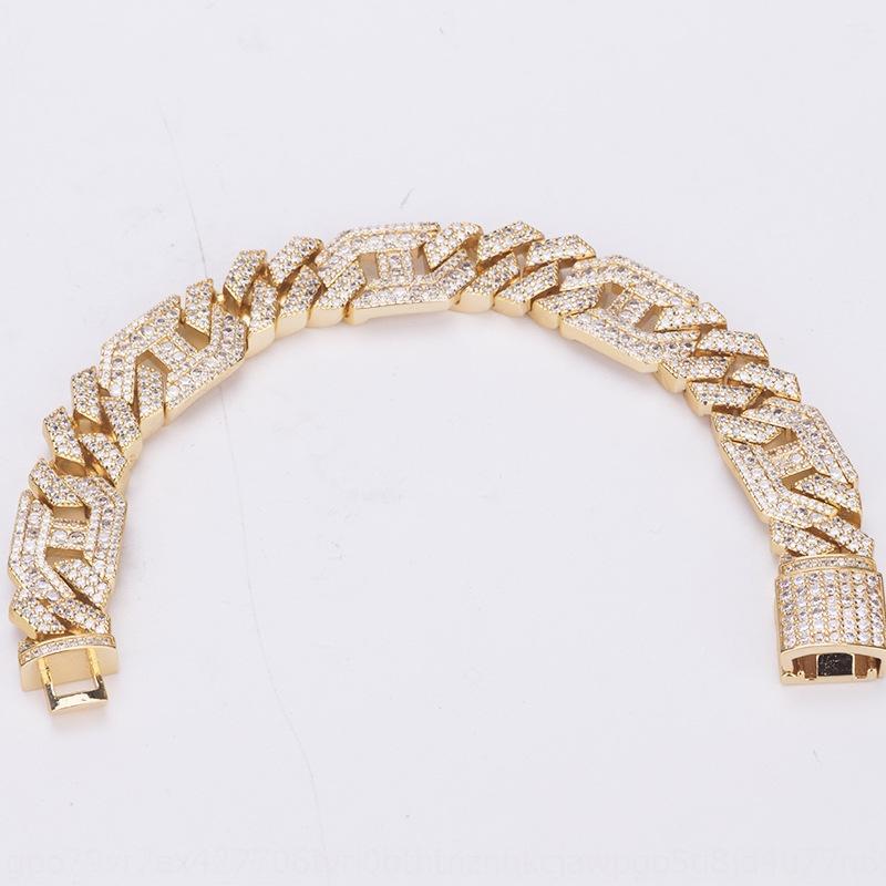 Nouveau cuivre zircon hip hop or cubain Bracelet 20cm 14mm Bracelet plaqué bijoux pour hommes brabra braCuban Soutien-gorge g0Nml
