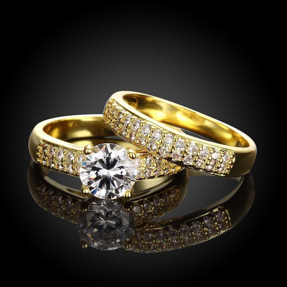 Top Qualität Gold / Silber Kombination Frauen Engagement Hochzeit Zirkonia Big Ring Schmuck Freies Verschiffen