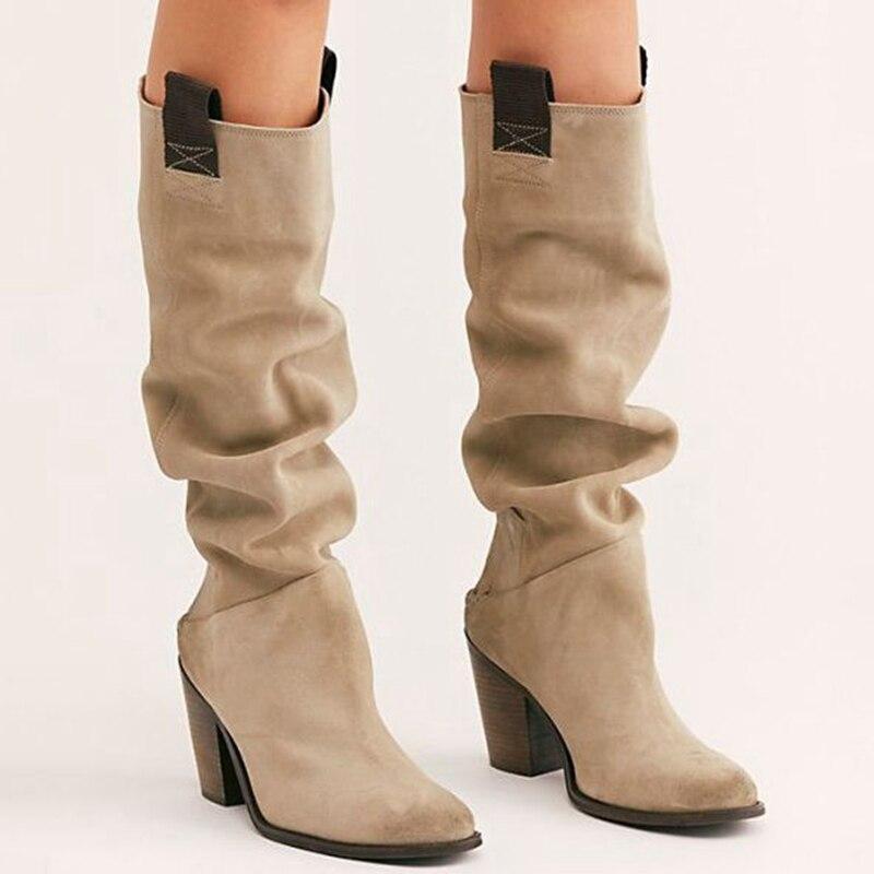2020 Plataforma de Mulheres Moda Botas Mid-Calf Botas deslizamento em sólidos saltos baixos senhoras quentes Casual Shoes Inverno Além disso Botas de mujer