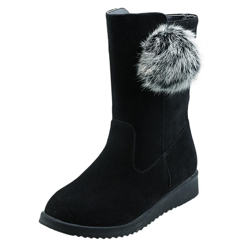 Hot Sale-Femmes Bottes New Mode Flock noir pur hiver de femme Bottes caoutchouc Mi-mollet Femme Dropship