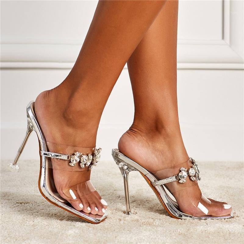 2021 Yaz Kadın Şeffaf Kristal Topuklu Rhinestone Gümüş Sandalet Lady Seksi Temizle Blok 11 cm Yüksek Topuklu PVC Gece Kulübü Ayakkabı1