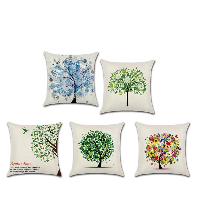 Dekorativer Wurfkissenbezug Grüner kleiner frischer Cartoon-Leben Bäume Baumwolle Leinen Kissenbezug für Sofa Home Almofadas 45x45cm