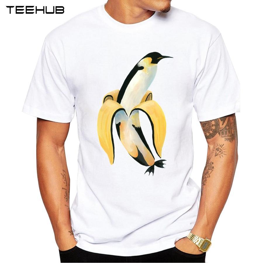 Penguin Banana T-shirt à manches courtes d'été 2019 T-shirt drôle de pingouin imprimé T O-Neck Casua; le sport Hauts Sweat à capuche à capuche