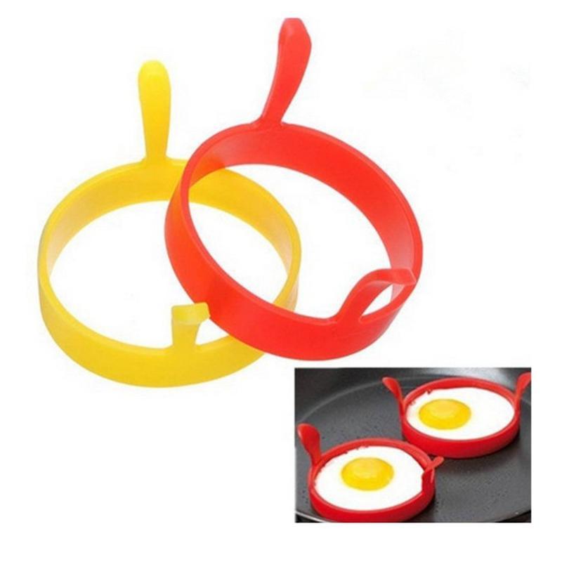Силиконовые яйца жареные жареные Fry Forer Fashion Round Kitchen Poacher яичко Блинница кольцевая пленка инструмент жареный завтрак плесень VTKY2160