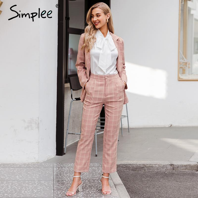 Simplee Fashion plaid women blazer suits Long sleeve double breasted blazer pants set Pink office ladies two-piece blazer sets 201013