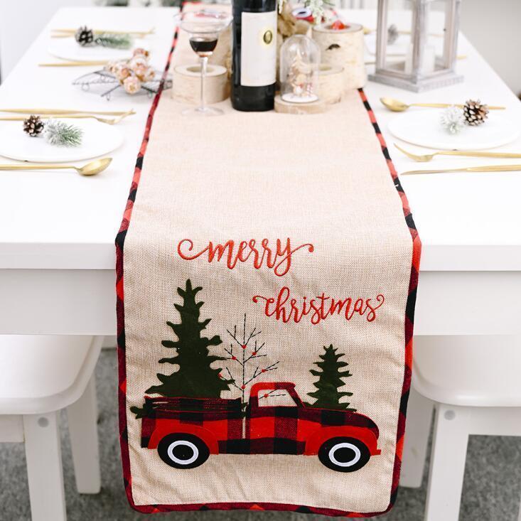 عيد الميلاد الجدول عداء مفرش القطن الكتان الجدول غطاء شجرة عيد الميلاد العلم الجدول اللباس مفرش المائدة الأكل مات زينة عيد الميلاد AHB2901