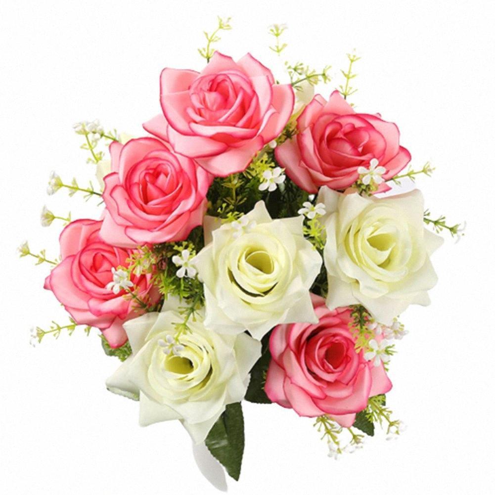 Simulación del jardín Rose de seda 12 de la cabeza del Ministerio del Interior artesanías de decoración de boda flores artificiales Tabla Aniversario de escritorio que prensa 13Fh #