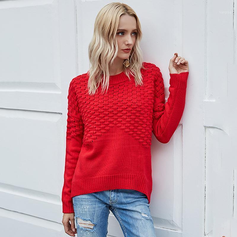 Suéteres de mujer Foridol Solid Red Pullovers Suéter Femenino Casual Tallas grandes Tallas Superiores Mujeres Otoño Invierno Punto de Navidad Jumper1