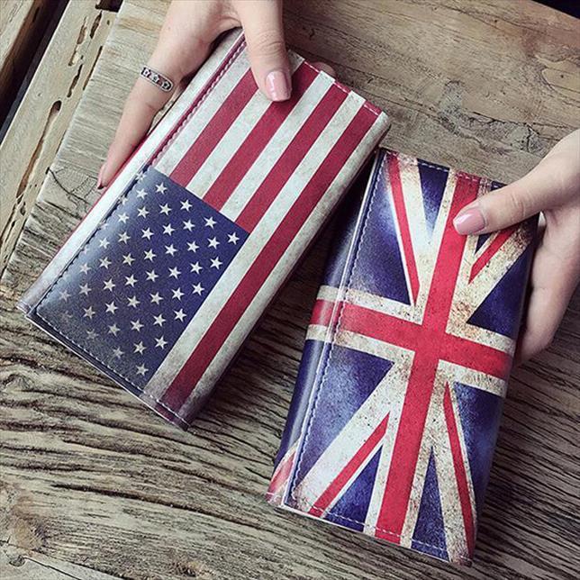Çanta Burse Kadınlar Cüzdan Lady Cüzdanlar UK Bayrak Desen torbaları Kızlar Çanta Madeni Para Çanta Uzun Debriyaj Cüzdan Kimlik Kartları Tutucu