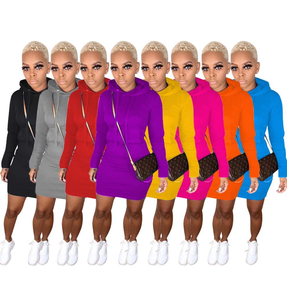 8 Color Womens Casual Dress Pullover Mit Kapuze Taschenkleid Herbst und Winter Langarmkleider 2020 Neue Art