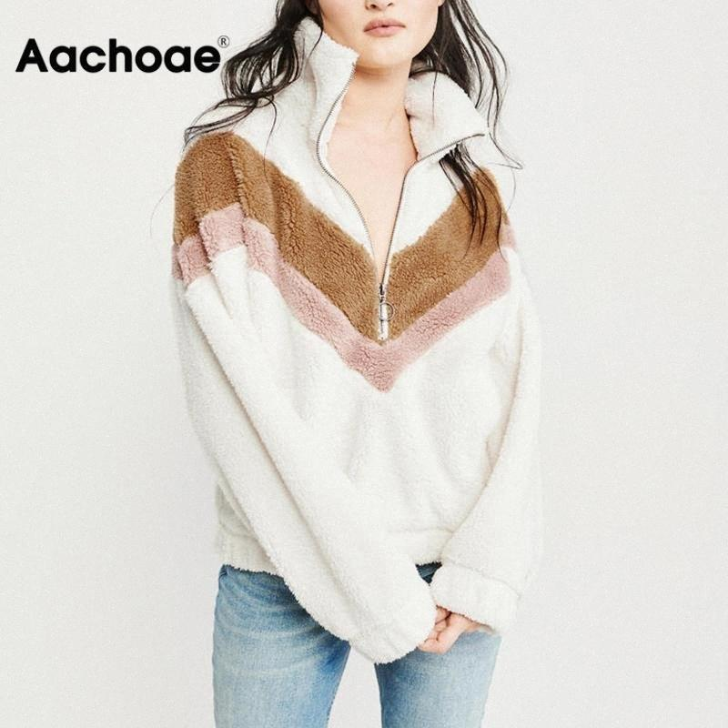 Aachoae Sıcak Kapüşonlular Kadınlar Sonbahar Kış Patchwork Fermuar Uzun Kollu Polar Kazak Casual Gevşek Teddy Tişörtü sudaderas Y200610 H1HJ #