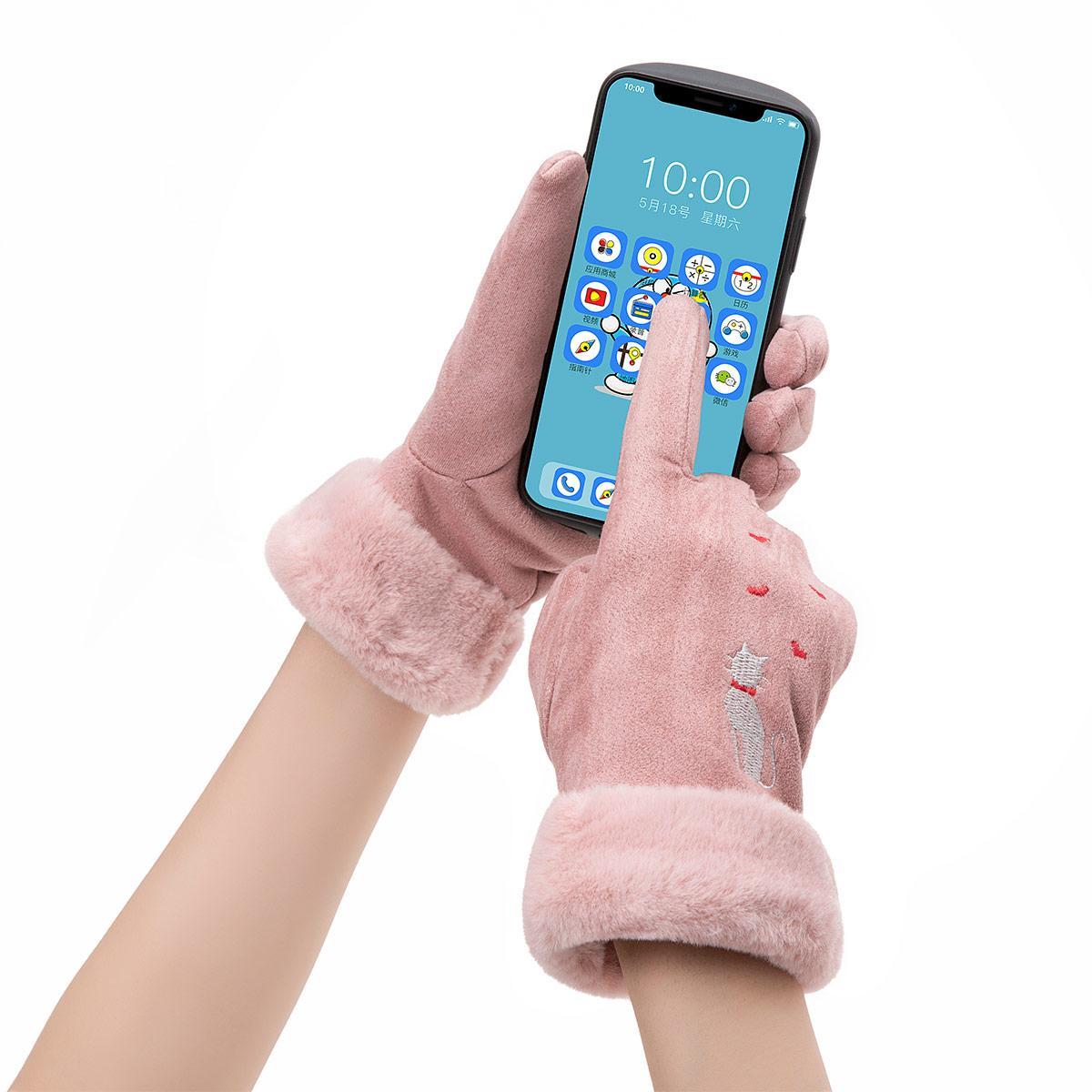 새로운 겨울 여성 장갑 단색 따뜻한 터치 스크린 장갑 자수 귀여운 고양이 방풍 야외 장갑