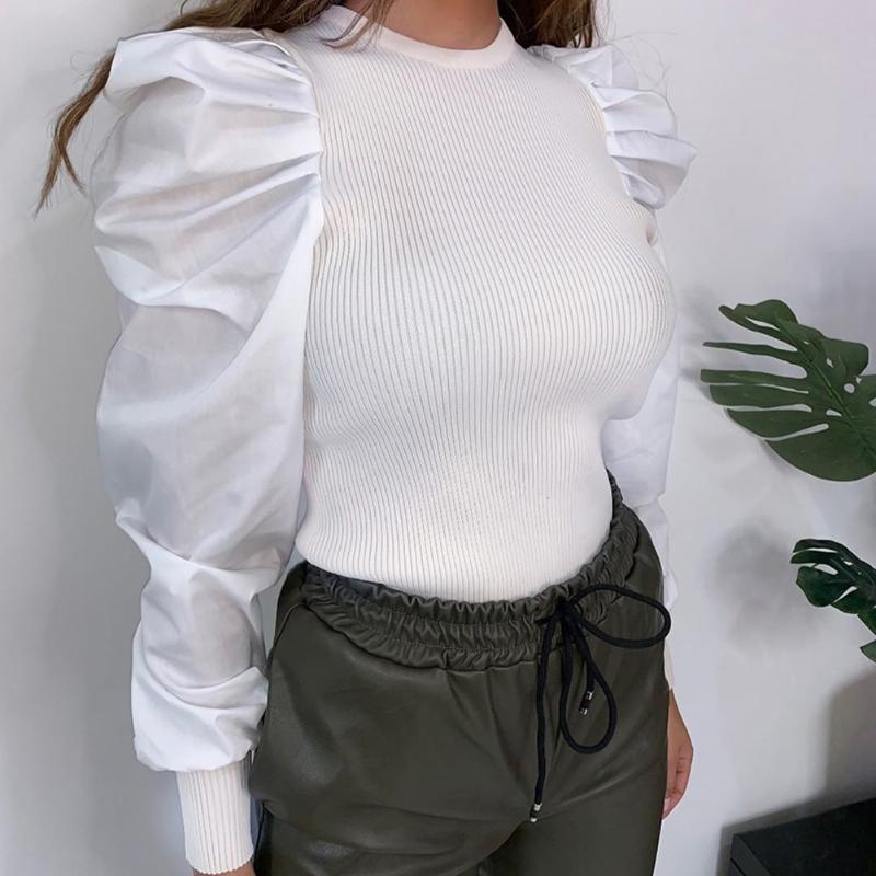 Blusas para mujer Camisas Mujeres de manga para mujer Tops de otoño Pullover O Cuello Blusa de punto 2021 Primavera Long Long Slim Fit Camisa Básica Streetwear