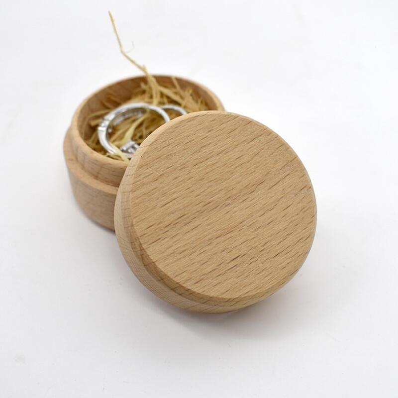 Ring Box madeira de faia redonda pequena caixa de armazenamento retro para o casamento Natural de madeira Jóias Caso BWB2108