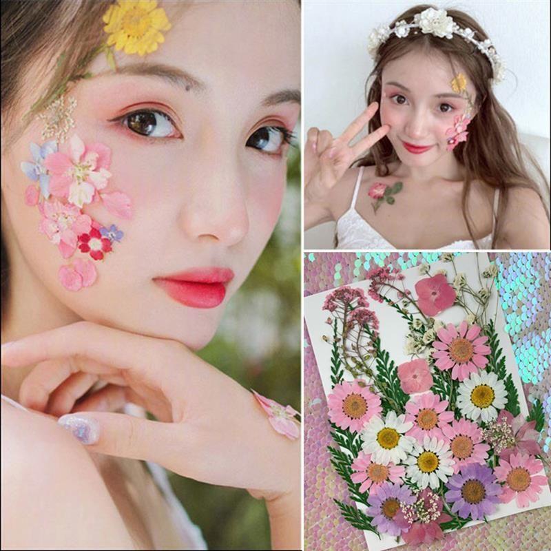 1 paquet fleur séché naturel artisanat de fleur pressé à la main pour cas de téléphone faux nail art corbon 3D fleurs sèches autocollants