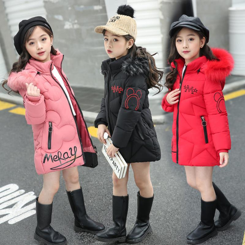 2020 Çocuk Kış Ceket Kız Giyim Pamuk dolgulu Dış Giyim Çocuk Sıcak Harf Kalın Kürk Yaka Kapşonlu Uzun Coats Down 0927