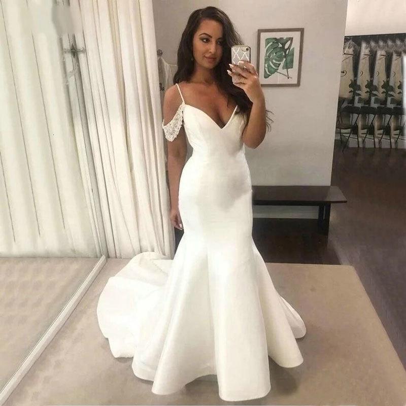 2021 vestido nuevo, vestido de novia liso 85bp