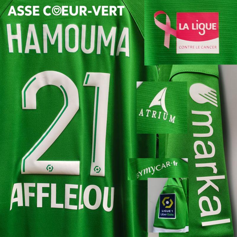 2020-2021 Hamouma Maillot com La Ligue Contre Le Cancer Bouanga Aouchiche Macon com toda a camisa do patrocinador American College Football