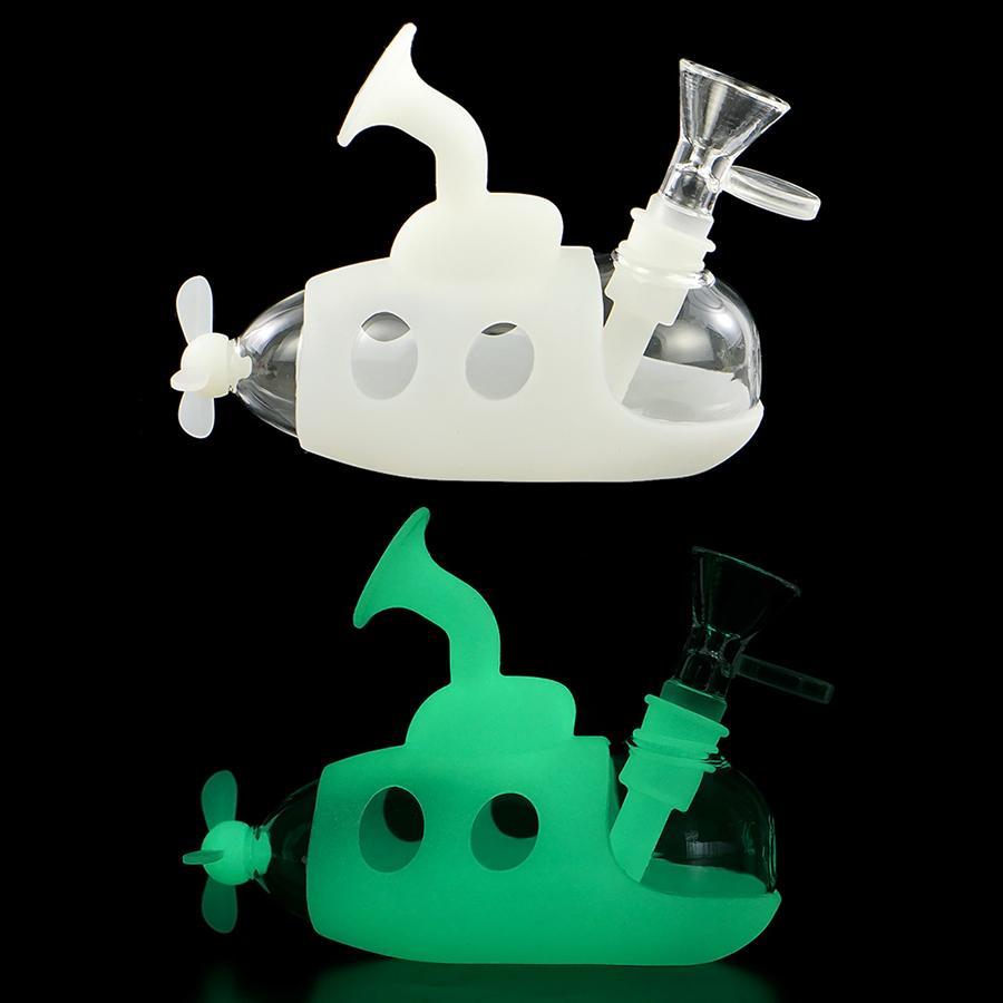 Silikon Su Bong Boru Sigara Borular Cam Bongs Drisk İpuçları Kuru Herb için Karanlıkta Glow