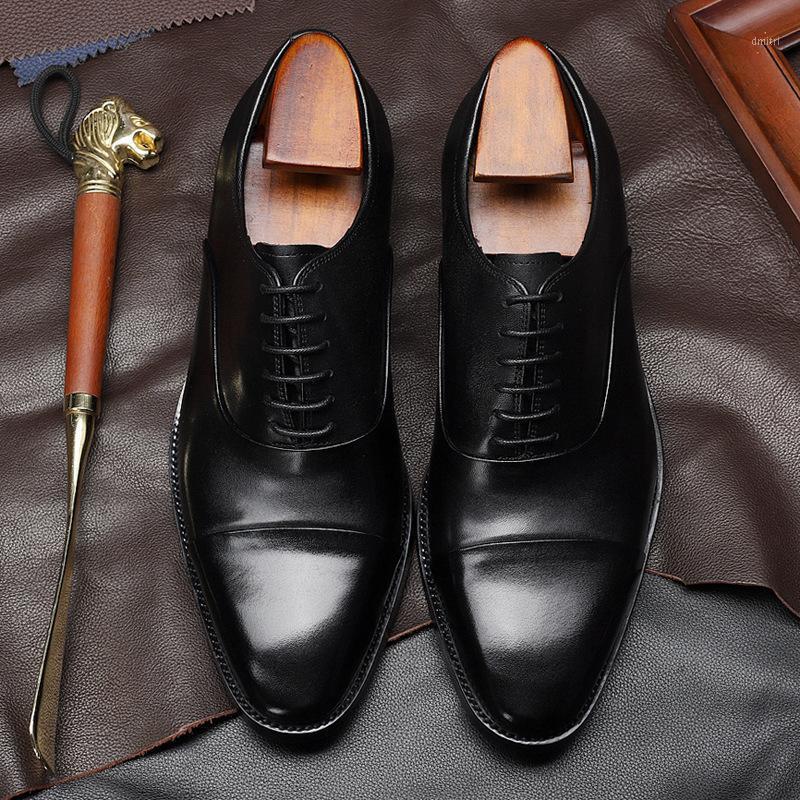 Otoño 2020 Cabeza redonda de los hombres Cuero de ganado Ropa formal de los hombres de los zapatos de un solo zapatos antideslizantes Fabricantes al por mayor1