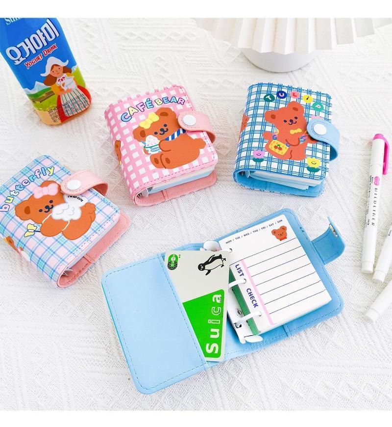 Pendentif 90PCS Mini Ours Journal Grille Loose-feuille NoteBook PU Cover Voyage Planificateur Bloc-notes Fille Journal Journal Corée du titulaire de la carte